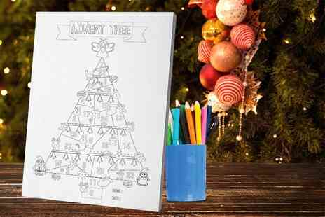Deco Matters - A5 kids Christmas advent calendar colouring canvas - Save 50%
