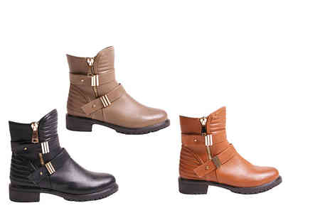 MY UL - Pair of faux leather ankle boots choose from three colours - Save 70%