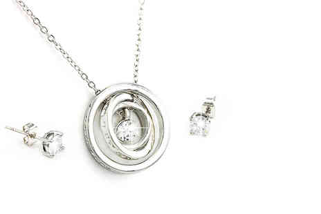 Bijou Amour - White or rose gold-plated celestial pendant and earrings set - Save 85%