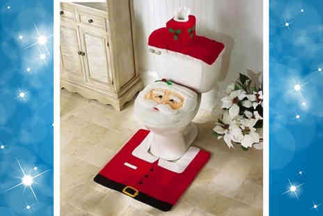 UK Home and Garden Store - Santa Claus toilet seat cover, bathroom rug and toilet tank cover set - Save 77%