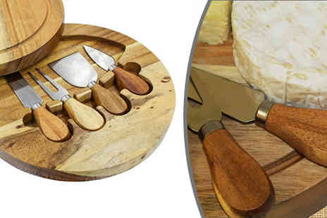 Internet Shop - 4 Piece Cheese Knife and Cutting Board Set - Save 70%