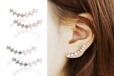 LOVETTIUK - Pair of crystal ear climber earrings choose from gold or silver colours - Save 78%