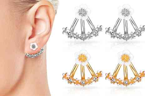 Groupon Goods Global GmbH - One or Two Pairs of Philip Jones Daisy Earrings with Crystals from Swarovski - Save 0%