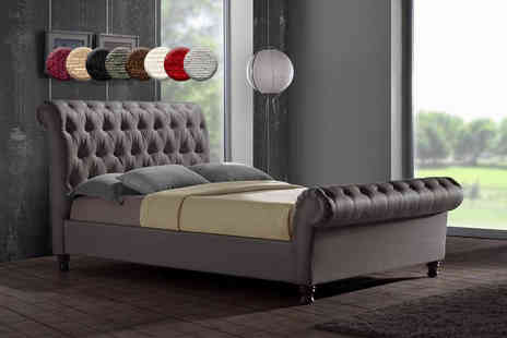 FurnitureStopUK - Small double chenille Chesterfield bedframe - Save 60%