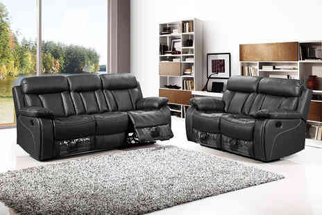 FurnitureStopUK - Two or Three seater Fiora faux leather recliner sofa - Save 0%