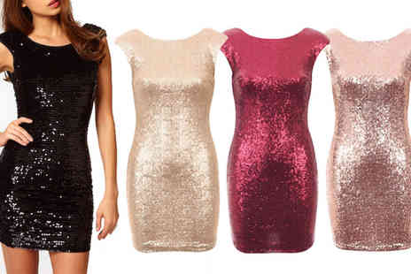 Dress Room - Sequin dress available in gold, rose gold, red & black - Save 55%