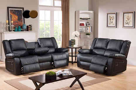 FurnitureStopUK - Two or three seater Toro leather recliner sofa - Save 50%