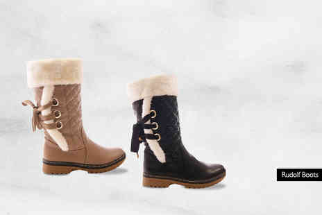 MY UL - Pair of faux fur lined quilted winter boots choose from two styles - Save 74%