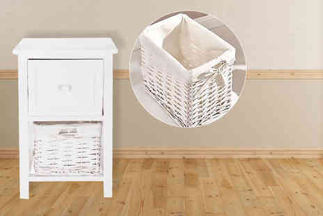Sashtime - Shabby chic bedside cabinet with wicker basket - Save 64%