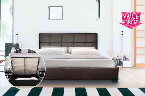 Giomani Designs - Faux leather double ottoman storage bed include a mattress - Save 87%