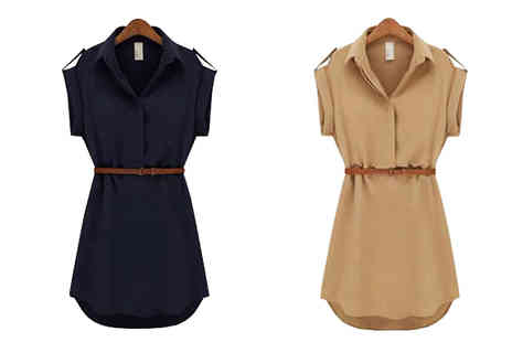 Graboom - Belted Mini Shirt Dress Two Colours,Five Sizes - Save 0%