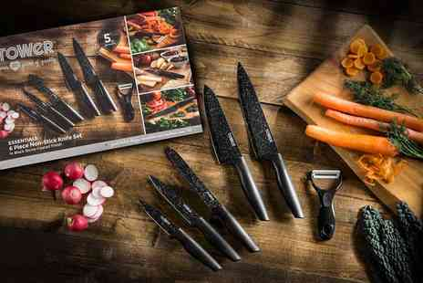 Groupon Goods Global GmbH - Tower Six Piece Stone Coated Knife Set in Black or Grey - Save 0%