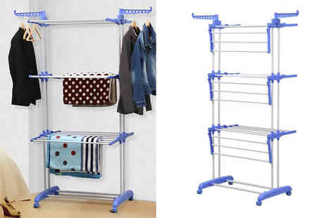A2B Shopping - Foldable extra large three tier laundry drying rack - Save 54%