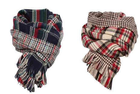 Shapelle - Oversized Tartan Scarf Two Colours - Save 55%