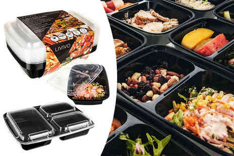 Sashtime - Pack of 10 two compartment food containers - Save 57%