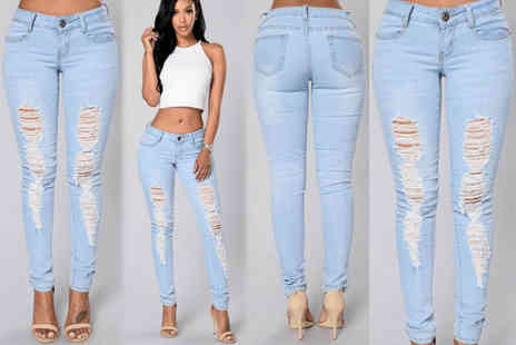 EF Mall  - Pair of ripped light blue skinny jeans choose from three colours - Save 67%