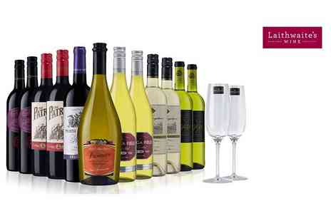 Laithwaites - 12 bottle selection of exclusive boutique wine plus two Champagne flutes choose from three varieties - Save 67%
