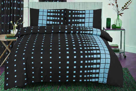E4Emporium - Single stylish coloured check print duvet set - Save 76%