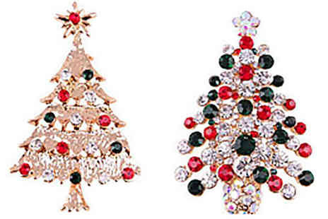 India Rose Designs - Xmas Tree Crystal Brooch Gold or Silver - Save 76%