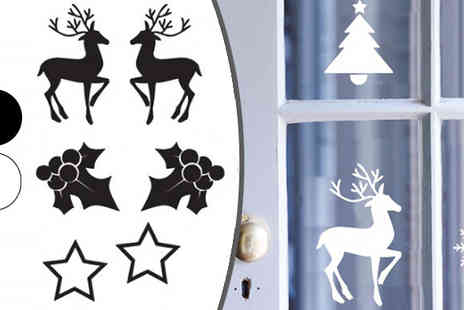Wundur - Christmas Wall or Window Stickers 2 Designs, Choose From Two Colours - Save 73%