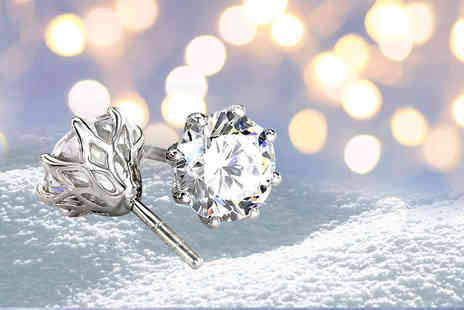 Bijou Amour - White simulated sapphire earrings - Save 84%