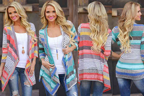 The Wholesale Group - A striped waterfall cardigan choose from red and blue - Save 80%