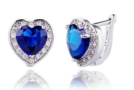 My Boutique Store - Pair of white gold plated and brilliant blue simulated sapphire earrings - Save 92%