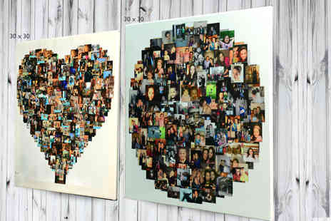 Your Perfect Canvas - Personalised photo collage canvas in a heart, square or circle shaped design choose from four sizes - Save 80%