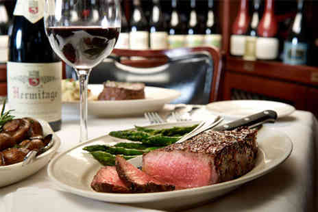 Ad Hoc - Steak frites dinner and a bottle of wine for two - Save 54%