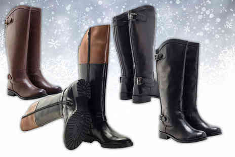 Shoeprimo - Pair of ladies real leather riding boots choose from four designs - Save 76%
