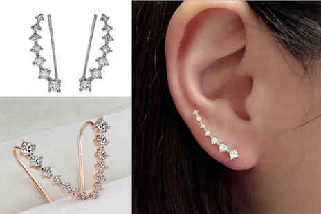 LOVETTIUK - Pair of crystal ear climbers choose from gold or silver plated - Save 78%