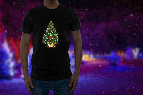 BGSL - Sound activated LED light up Christmas Tshirt choose from three designs - Save 54%
