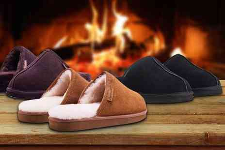 Shoeprimo - Pair of mens sheepskin slippers choose from tan, chocolate and brown - Save 79%