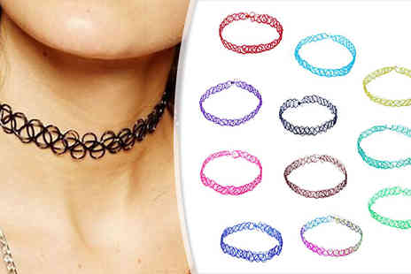 Marcus Emporium - Stretch Tattoo Choker Necklace in 10 Colours - Save 70%