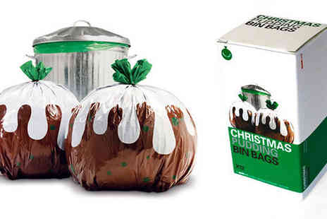Home and Kitchen Direct - Novelty Christmas Pudding Bin Bags in 12 or 24 - Save 60%