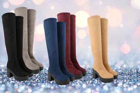 Online Avenue - Pair of over the knee boots choose from black, burgundy, tan, blue and grey - Save 66%