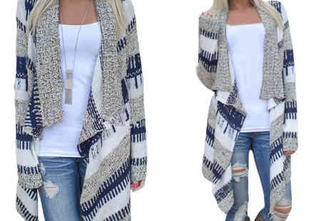 Orchid Deal - Long Line Waterfall Cardigan in 5 Sizes - Save 0%