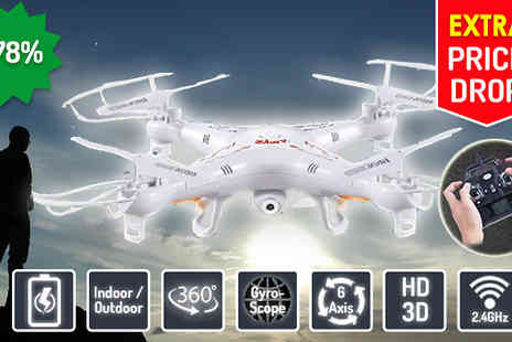 Gizmo Gadgets - Six Axis Extra Large Gyroscope Quadcopter Drone with HD Camera - Save 78%