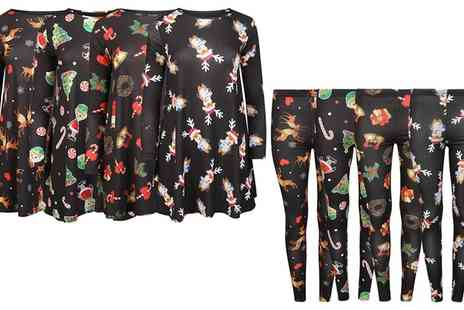 Groupon Goods Global GmbH - Womens Christmas Themed Leggings or Swing Dress - Save 0%