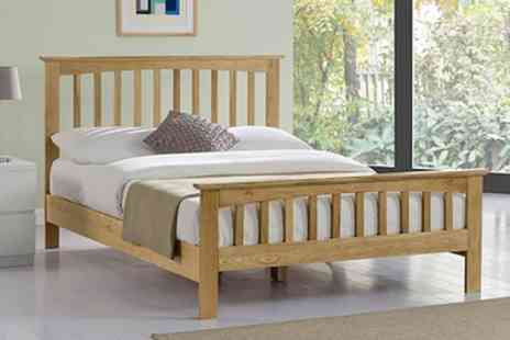 Groupon Goods Global GmbH - Alderley Solid Oak Shaker Bed With Mattress With Free Delivery - Save 52%