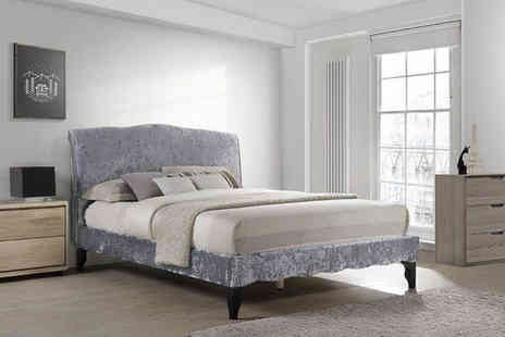 FTA Furnishing - Double or king size crushed velvet bedframe with headboard - Save 54%