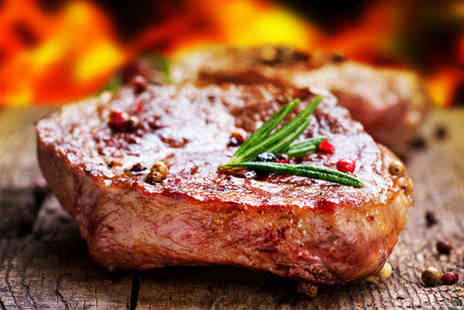 Chequers Bar and Grill - Two rump steaks with a choice of side and sauce each for two people plus a bottle of wine to share - Save 0%