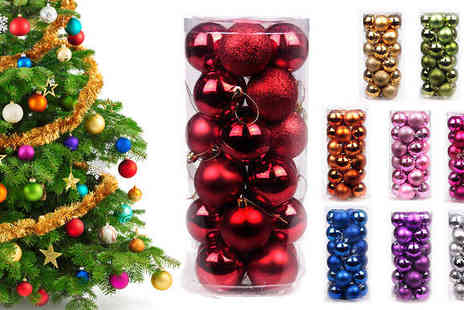 Orchid Deal - 24 Pack of Coloured Baubles Choose from Three Sizes Available in Nine Colours - Save 0%