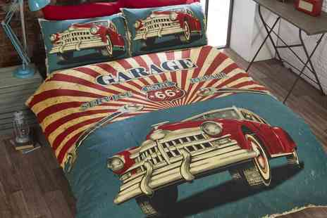 Groupon Goods Global GmbH - Retro Style Garage Reversible Duvet Set - Save 0%