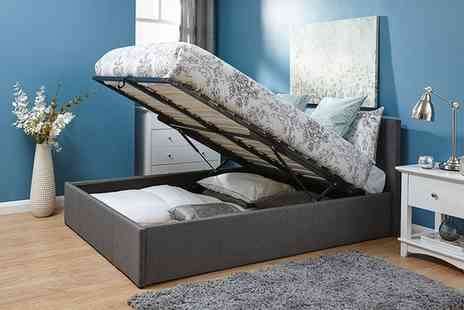 Groupon Goods Global GmbH - Kingsley Fabric Ottoman Bed End or Side Lift With Mattress Include Free Delivery - Save 0%