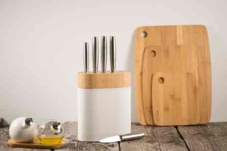 Groupon Goods Global GmbH - Viners Arc Five Piece Knife Block Set With Free Delivery - Save 42%