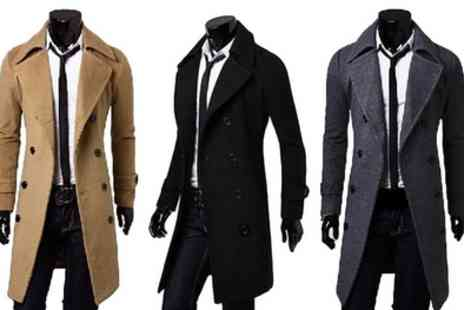 Groupon Goods Global GmbH - Mens Smart Double Breasted Coat With Free Delivery - Save 0%