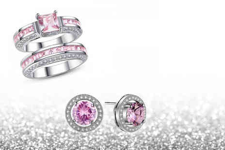 Your Ideal Gift - White gold plated double ring and earring set with pink simulated sapphires - Save 90%