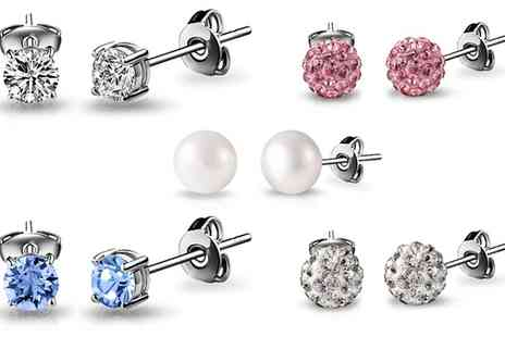 Groupon Goods Global GmbH - Crystal or Pearl Stud Earrings - Save 0%