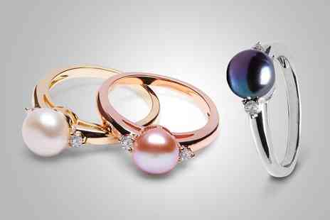 Groupon Goods Global GmbH - Freshwater Pearl Ring with Crystals from Swarovski - Save 0%